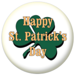 Happy St Patrick's Day Shamrock 25mm Button Badge